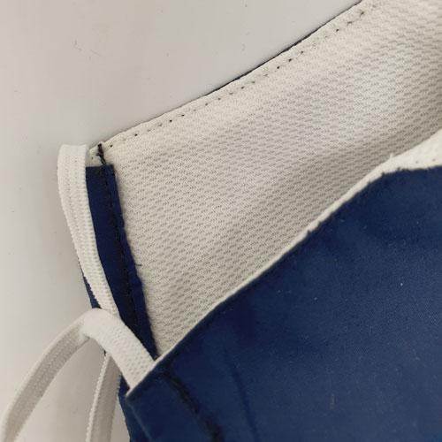 Detailansicht Nase-Mund-Bedeckung dunkelblau mit Meshstoff