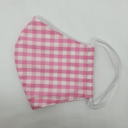 halbseitige Ansicht Nase-Mund-Bedeckung in rosa-weiß-kariert