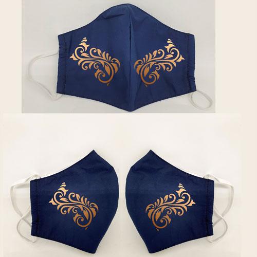 Ranke in gold auf dunkelblauer Maske