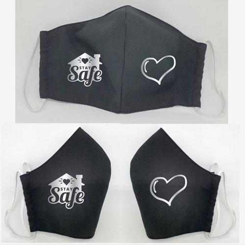 schwarze Maske mit Silberaufdruck